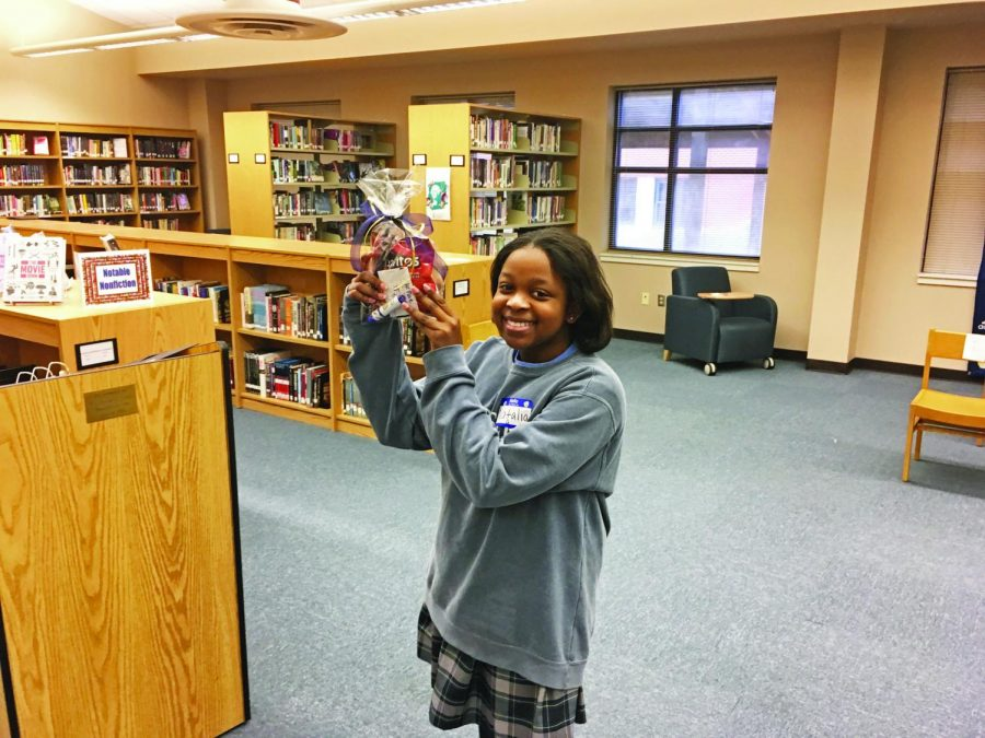 Eighth grader Natalia Igwebuike after winning the St. Joe Spelling Bee for the second year in a row.