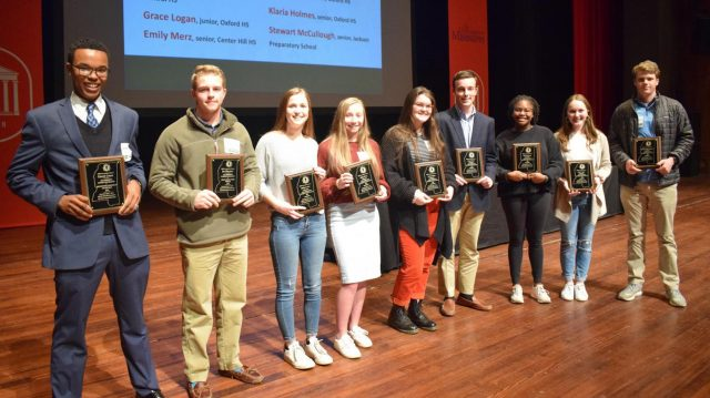 High school journalists (from left) Garrett Grove, Joe Pearson, Molly Archer, Haley Berry, Livvy Cohen, Gene Crunk, Klaria Holmes, Grace Logan and Stewart McCullough were among the students honored by the Mississippi Press Association with its first All-Mississippi distinction. The honors were announced at the association's annual convention and were headlined by Grove being named Mississippi High School Journalist of the Year and Pearson being named the Orley Hood Sports Journalist of the Year.