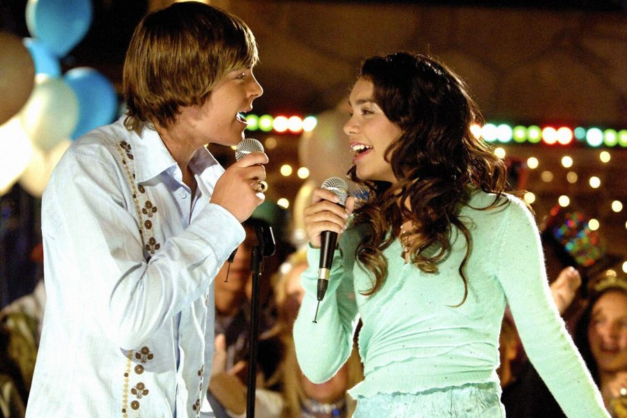 Zach Efron and Vanessa Hudgens as Troy Bolton and Gabriella Montez in High School Musical