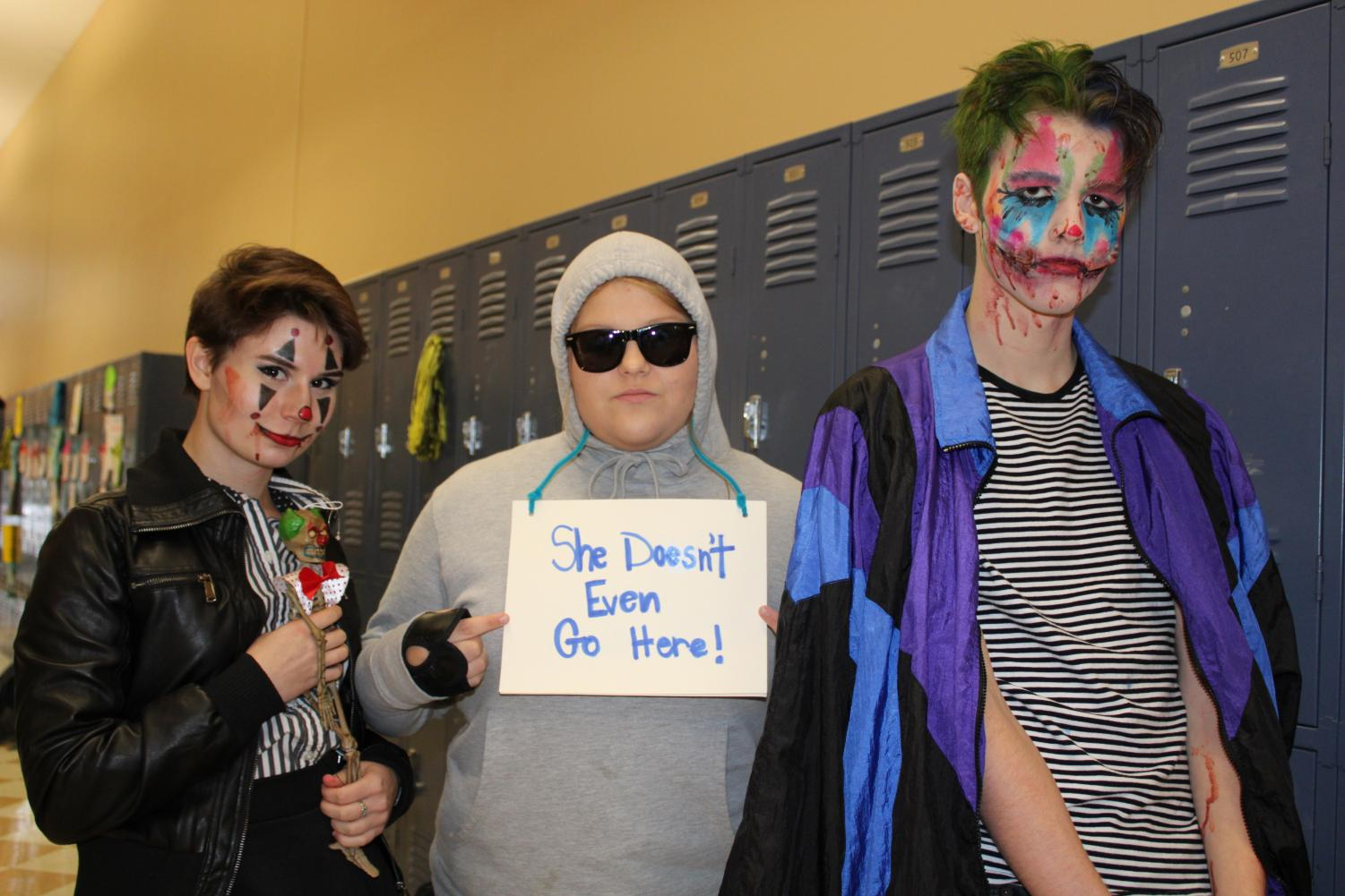 From left to right: Kim Kaiser, Mary Kathryn David, and Anderson Nixon dressed up on Halloween.