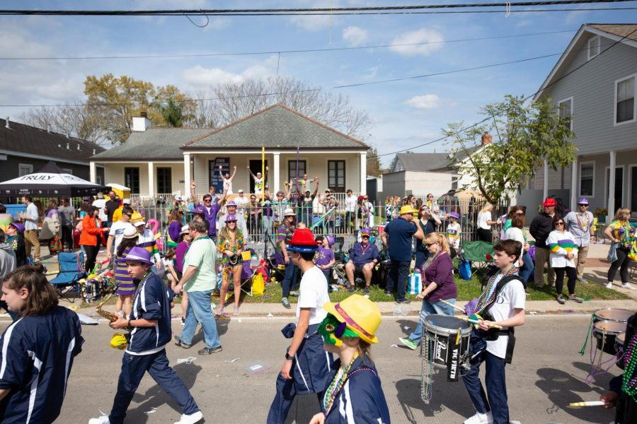 The+St.+Joe+band+marches+in+the+Krewe+of+Thoth+parade.+