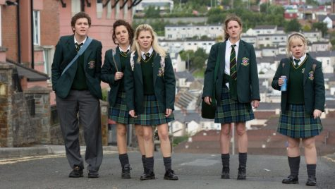 "Screenshot from Netflix's ""Derry Girls,"" of the main characters. From left to right: James Maguire (Dylan Llewellyn), Michelle Mallon (Jamie-Lee O'Donnell), Erin Quinn (Saoirse-Monica Jackson), Orla McCool (Louisa Harland), and Clare Devlin (Nicola Coughlan)."