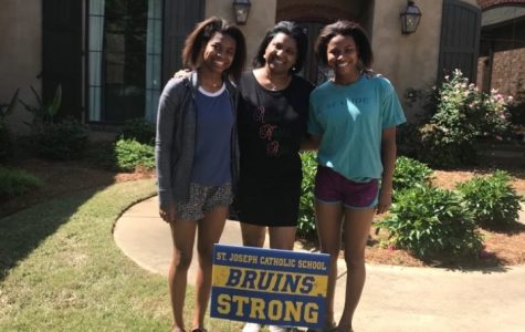 The Conerly twins, Hailey and Lauren, with their mother, Ms. Kimberly Conerly, PA president.