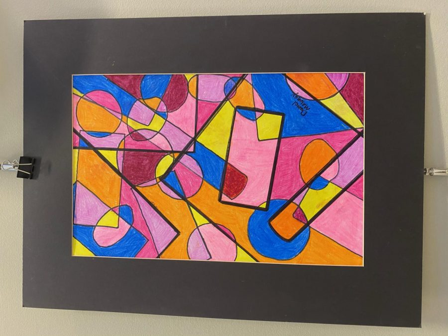 An artwork of overlapping shapes by freshman Daniel Maloney.