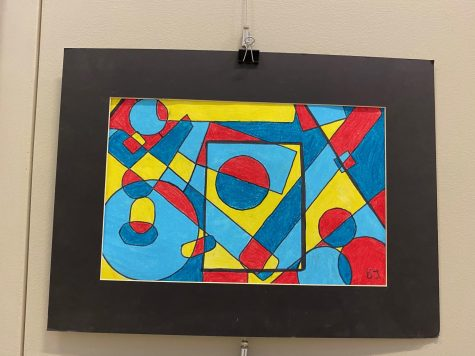An artwork of overlapping shapes by freshman BJ Cooley.