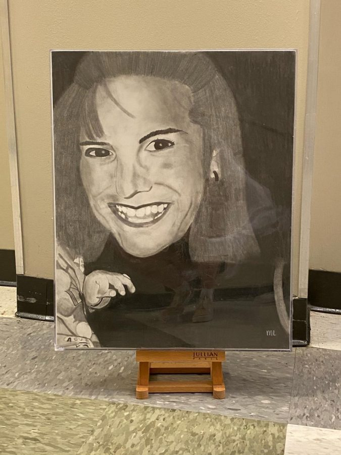 """Sweet Cookie"" by senior Mina Leffler is a sketch of her mother using pencil."